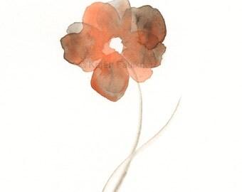 "Original watercolor flower painting in orange and sepia: ""Sepia Sway"""