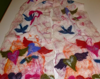Nuno Felted Silk Scarf with Birds and Hearts, rainbow colors
