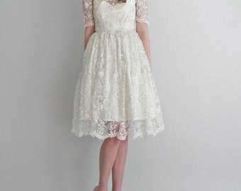 SAMPLE SALE 2 Piece, Hand-Beaded Lace and Silk Wedding Dress -- Mel