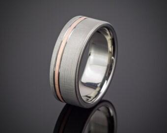Titanium Rose Gold Wedding Ring Comfort Fit Interior
