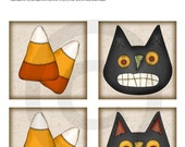 INSTANT DOWNLOAD - Digital Collage Sheet - 3.5 Inch Square - Folky Cats & Candy Corn  - Printable PDF File