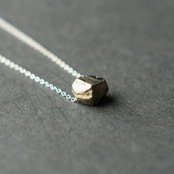 Pyrite Necklace, Pyrite Nugget  Necklace, Gemstone Sterling Chain Necklace, Organic Minimal Jewelry