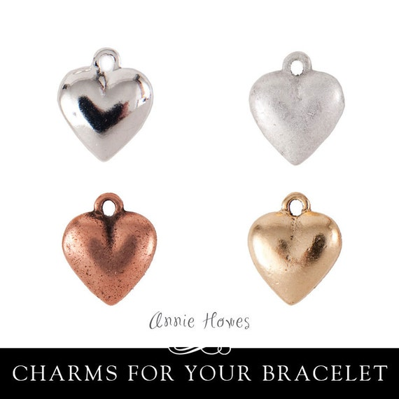 Heart Charm for Charm Bracelet in Silver, Copper, or Gold.  Double Sided. Choose your plating.