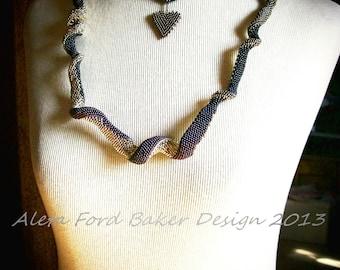Necklace Art Jewelry Beadwork Indespiral Freeform Sculptural Beaded Statement Neckpiece