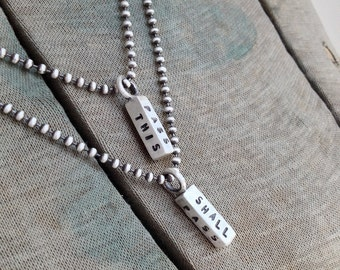 This Too Shall Pass Sterling Silver Stamped Square Bar Charm Necklace