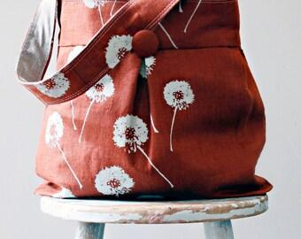 Terra Cotta  Linen Dandilion Hobo Bag - Reversible