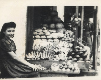vintage photo Philippines Girl Selling Fruit at Market Bananas