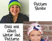 Winter Fleece Hat Sewing Pattern PDF. Child Sizes 0-10 years - Adult. child, men, women, teen, preteen