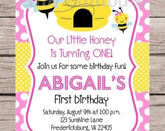 PRINTABLE Pink Bumble Bee Birthday Party Invitation / Personalized BeeDay Invitation in Pink and Yellow  for Any Age / You Print - 0032