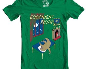 Goodnight Sloth Men's Tee, Goodnight Moon T-Shirt, T Shirt, Tees for Guys, Funny Shirts, Sizes S - 2XL