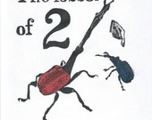 The lesser of two weevils linocut - Terrible Pun Adage or Saying Typography and Lino Block Printed Weevils, or Beetles, or Insects Print