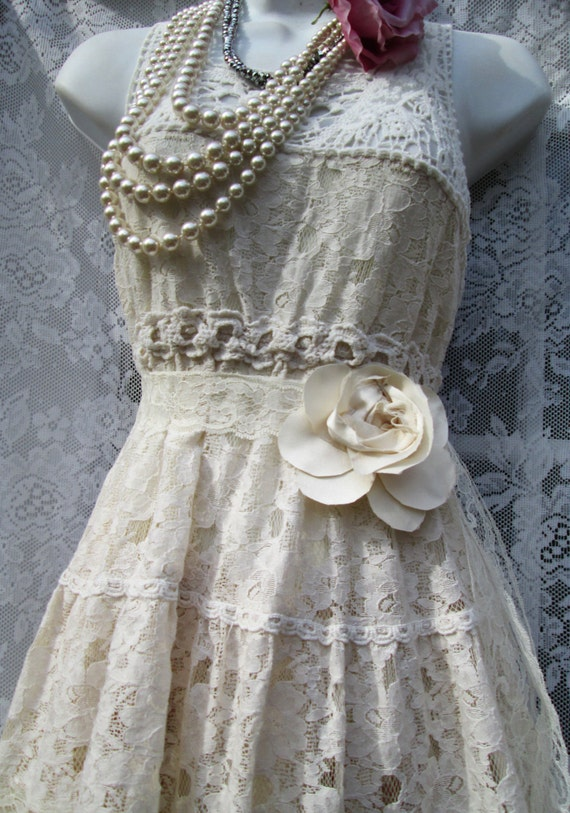 Boho Lace Wedding Dress Etsy : Boho wedding dress cream ivory lace crochet ecru vintage bride outdoor