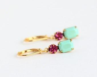 Mint Earrings, Vintage Green Jewels, Jewel Earrings, Dangle Earrings, Mint and Pink Earrings, Gift For Woman, Valentines Gift