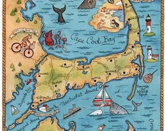 """Map of Cape Cod Art Print 8"""" x10"""""""