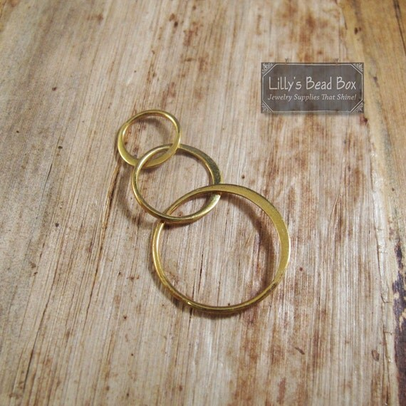 Circle Link Charm, Three Shiny Gold Circles, Natural Bronze Circle Connector Charm for Making Jewelry (CH 2533b)