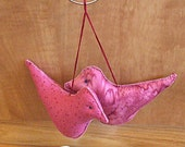 Primitive  Fantasy Hanging Pink Bird Bowl Filler Ornament Decorations