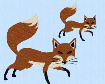 Fox machine embroidery file in two sizes