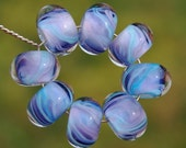 Lavender Breeze - Set of 8 Encased Lampwork Beads - Dan O Beads