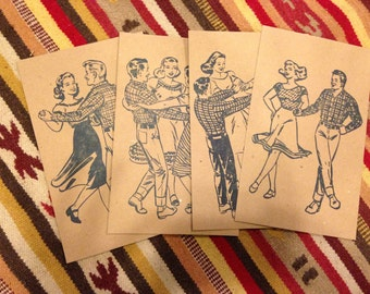 4 SQUARE DANCE Mini Prints - Hand Printed Letterpress to Frame or Mail