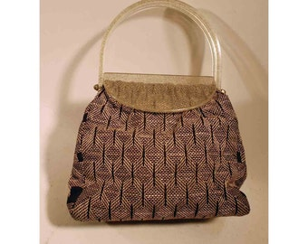 vintage acrylic sparkly handle purse gold navy blue pattern evening hand bag
