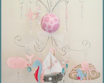 Girl Sea Life Baby Mobile Nursery Mobile Ocean Mobile