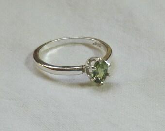 6mm x 4mm oval cut .55 ct demantoid green garnet ring size 5 3/4