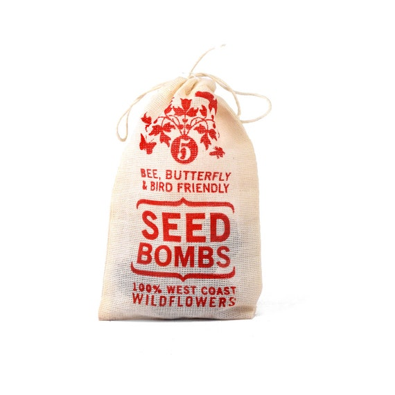 Wildflower Seed Bombs - West Coast Bird Bee and Butterfly Friendly DIY Easy Guerrilla Gardening Seeds Seed Balls