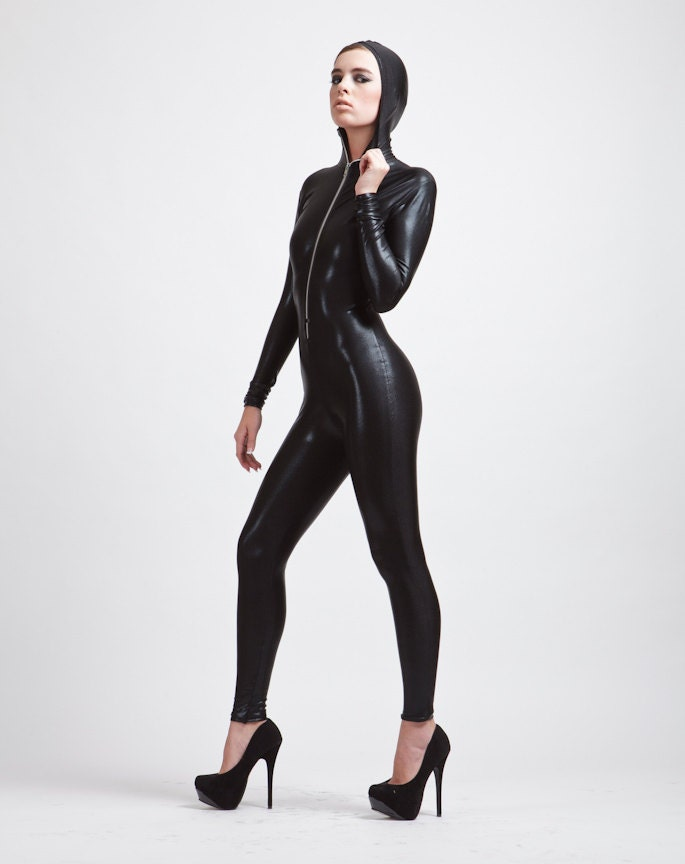 The Perfect Hooded Black Catsuit Wet Look Stingray Leather