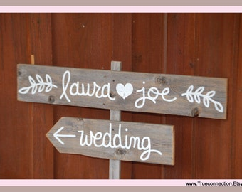 Olive Branch Wedding Sign Rustic Twig Vintage Outdoor Weddings Hand Painted Reclaimed Wood. Directional Signs. Vintage Weddings Road Signs