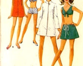 Vintage 60s bikini bathing suit 60s scooter skirt and robe sewing pattern Style 2442  Bust 38