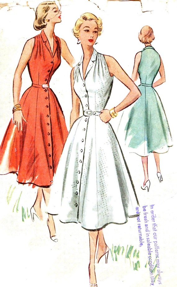rockabilly dress pattern 50s halter style sundress vintage