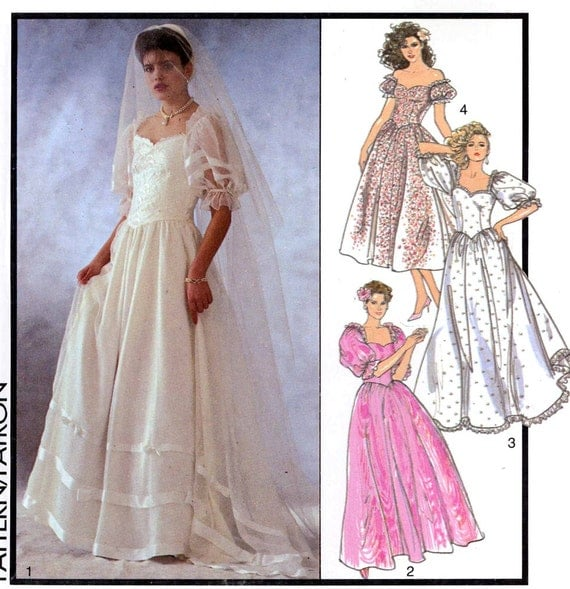 Romantic 80s Wedding Dress Pattern Style 4718 Wedding Gown