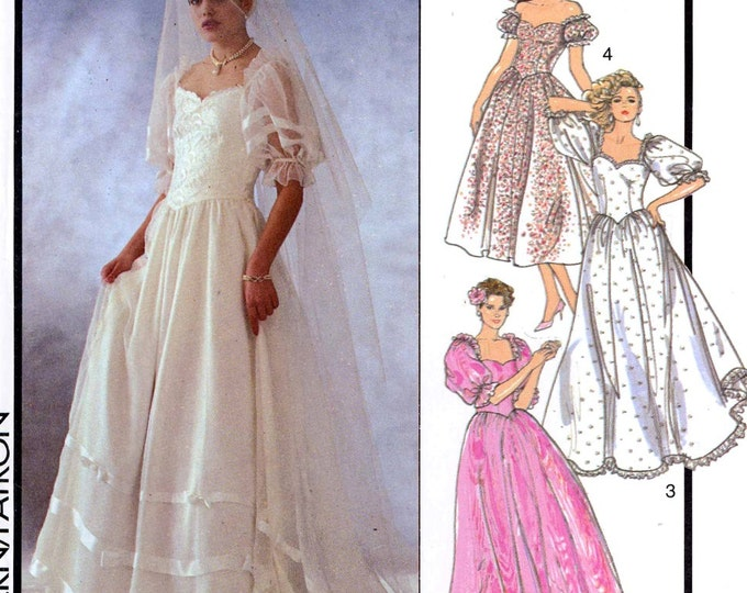 Romantic 80s wedding dress pattern Style 4718 wedding gown bridesmaid dress sewing pattern Size 10 UNCUT