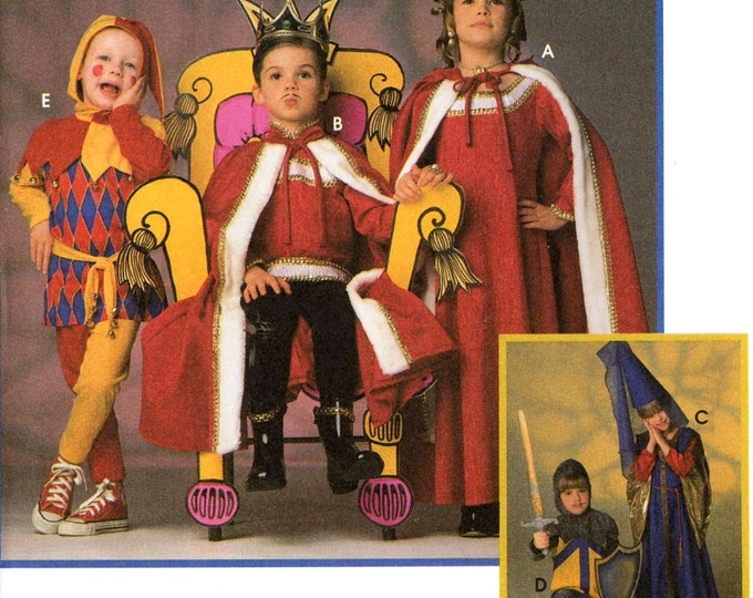 Childrens medieval pattern Boys and girls costume sewing pattern Jester Princess King costume pattern Simplicity 9236 Sz Sm to Lg kids UNCUT