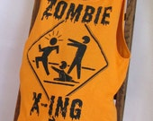 Zombie Crossing Orange Reusable Tote by Fashion Green T Bags