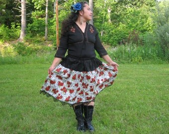 Red RoseLace Gothic Lolita Skirt by Erikas Chiquis