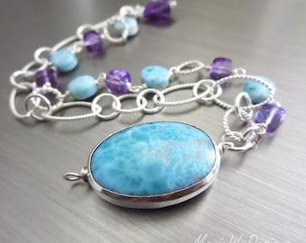 2 Strand Larimar-Amethyst-Sterling Silver Bracelet with Charm