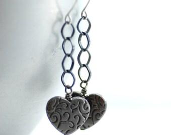Silver Earrings, Heart Earrings, Long Dangle Earrings, Rustic Earrings, Statement Earrings, Spiral Earring, Romantic Jewelry, Girly Earrings