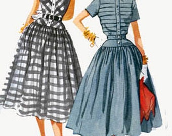 1950s Dress with TUCKED Bodice and Full Skirt Simplicity 4210 Womens Vintage 50s ROCKABILLY Sewing Pattern Size 14 Bust 32