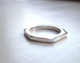 SALE - Thin Nut Ring - Size 8 - 8.5 - Sterling Silver - Industrial - Urban - Mens Ring - Minimalist - Silver Nut Ring - Made In Brooklyn