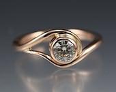 14k Rose Gold Vine Engagement Ring w/ Moissanite