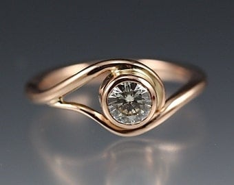 14k Rose Gold Vine Engagement Ring w/ Moissanite