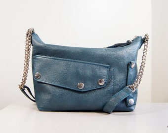 Eloise - Handmade Metallic Blue Leather Shoulder Bag Liberty Of London Lining