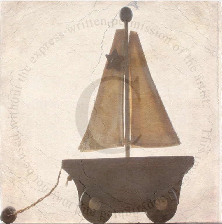 Wood Sailboat Wall Decor : Nursery wall art cream whitevintage wooden s sailboat