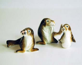 Vintage Animal Figurines, Japan Bone China Miniature Walrus Collectibles Toys, Ocean Sea Creatures Kelvin, Helvin