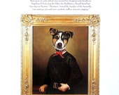 Dog Portrait - Jacques Russell, Nadia Borovinska - 1993 Vintage Book Page - Whimsical Dog Art - 2 Sided - 10.25 x 8.25