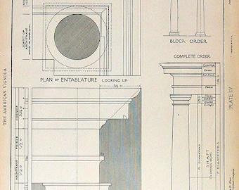 Architectural Drawings - Tuscan Order Entablature - 1904 Vintage Book Plate - American Vignola