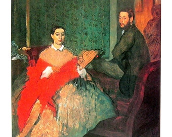Edgar Degas - Duke and Duchess of Morbilli - French Impressionist Art - 1977 Large Poster Sized Print 12 x 15