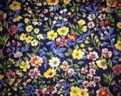 Navy Blue, Red, Yellow & Green Floral FAT QUARTER Linen - Mod Unused from 1980s