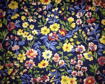 CLEARANCE Navy Blue, Red, Yellow & Green Floral FAT QUARTER Linen - Mod Unused from 1980s
